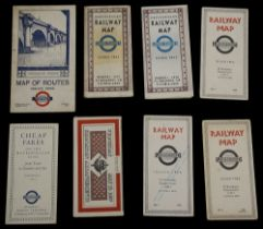 Eight 1930s London Underground folding pocket maps and others,to include a 1936 No. 1, 1937 No. 2