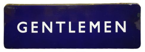 A BR(E) enamel sign displaying 'GENTLEMEN',with white lettering on a blue groundheight 30.5cm, width