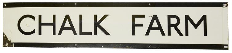 A London Underground enamel station frieze sign for Chalk Farm