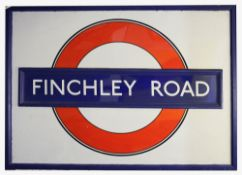 A large timber framed London Underground enamel sign for Finchley Road,mid-20th century, with