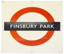 A London Underground enamel station roundel for Finsbury Park