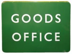 A BR(S) enamel sign displaying 'GOODS OFFICE',with white letters on a green groundheight 45.7cm,