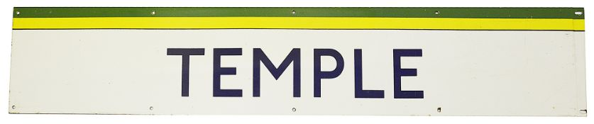 A London Underground enamel station frieze sign for Temple