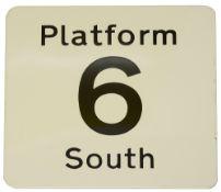 A railway station enamel sign displaying 'PLATFORM / 6 / SOUTH'