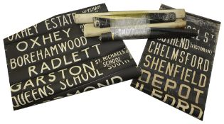 A bundle (6) of linen and other destination blinds dating from 1970s onwards