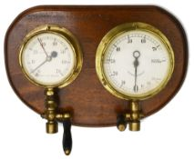 Two brass cased locomotive gauges and valves