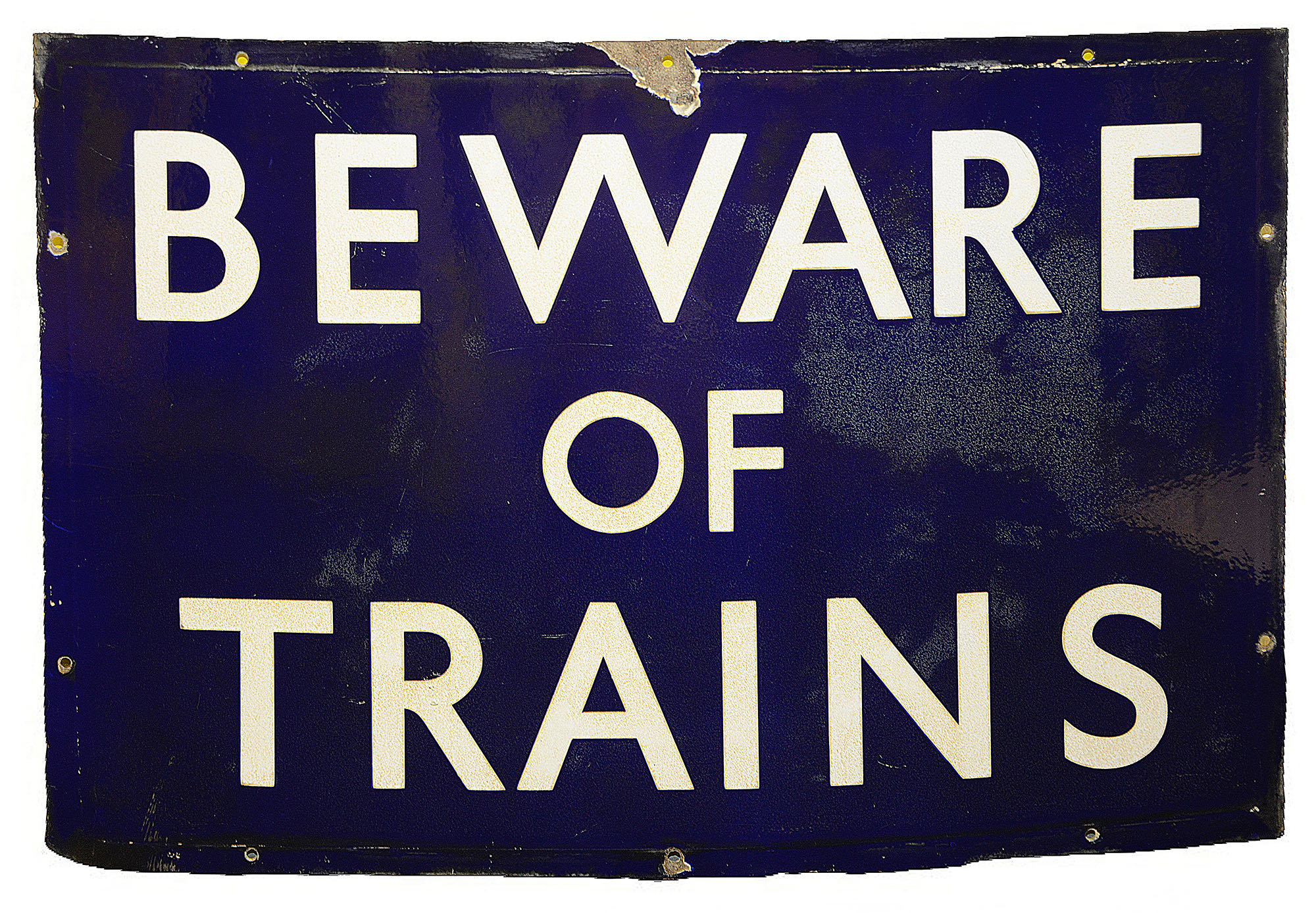 A BR(E) enamel sign displaying 'BEWARE OF TRAINS',with white lettering on a blue groundheight 45.