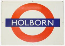 A London Underground enamel station roundel for Holborn