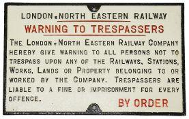 An LNER cast iron trespass notice