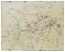 An early and rare London Underground and Metropolitan Railway enamel map,c.1910, manufacturers