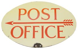 A Post Office oval double sided enamel directional sign