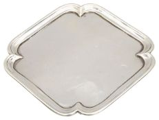 A George V silver waiter or card tray,