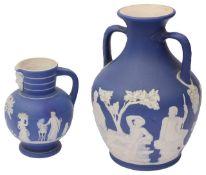 A late 19th century Wedgwood dark blue dip Jasperware Portland vase
