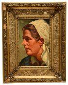 German school (early 20th c.) 'Portrait head of a woman', oil on board