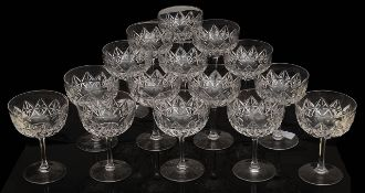 A set of 15 late Victorian champagne glasses
