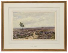 Attrib. Wycliffe Eggington (Brit., 1875-1951) 'Figures on a moor', watercolour, framed and glazed,