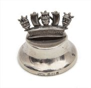 An Edwardian silver menu holder in the form of the Royal Navy Crown