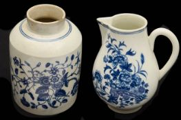 A First Period Worcester blue and white Fence pattern sparrow beak milk Jug c.1770