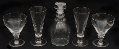 19th c. glass to include a late Georgian Prussian shaped glass decanter