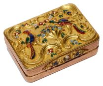 An early 19th Swiss century gold and enamel vinaigrette c.1820