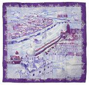 An Hermes silk scarf 'de passage a Moscou'