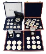 A collection of silver proof and other coins