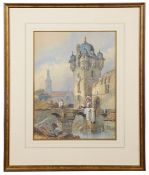 Samuel Prout (Brit., 1783-1852) 'Continental scene with figures', watercolour