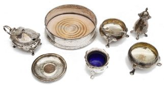 A pair of Georgian cauldron salts and other silver items