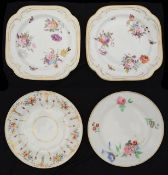 Two early 19th c. Swansea porcelain plates and a pair of square dessert plates