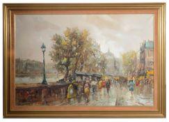 Salvadore Demone (Italian, b.1928) 'Parisian street scene with view of the Seine', oil on canvas