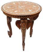 An early 20th c. Indian hardwood bone inlaid circular occasional table