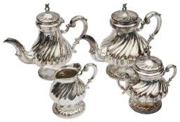 An Italian .800 silver four piece tea and coffee service