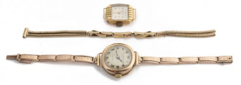 An 18ct gold cased ladies watch movement, 9ct bracelet watch and strap