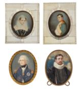 Four early 20th c. continental portrait miniatures of historical figures