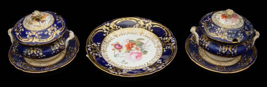 A pair of Coalport sauce tureens and stands and a dessert plate c.1820