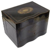 A 19th c. Fr. ebonised brass and mother of pearl inlaid decanter box,