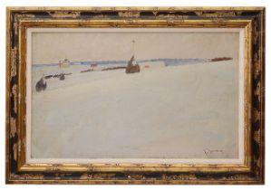 Russian school (20th c.) 'Snow scene with church', oil on canvas