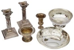 A Italian .800 silver dish, other items