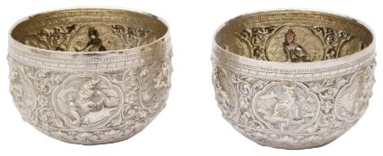 A pair of late 19th century Burmese silver rice bowls