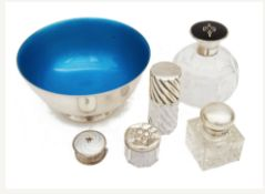 A collection silver to include a George V silver and tortoiseshell topped scent bottle