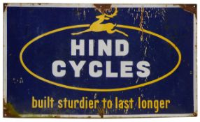 A vintage Hind Cycles enamel sign
