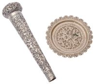 A late 19th c. Indian Colonial Kutch silver umbrella / walking cane handle c.1900 and a pin dish