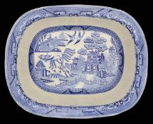 A late 19th c. Minton cheese stand and three other blue and white transfer printed dishes,