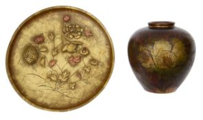 A Japanese Meiji Period gold splash decorated bronze vase and a small dish