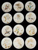 A set of eleven Aesthetic Movement dessert plates and a comport top by E.J.D. Bodley, Burslem,