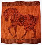 An Hermes cashmere and silk shawl 'A Cheval sur mon Carre'