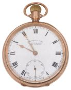 A 9ct gold open faced pocket watch by J. Hilser & Sons