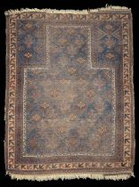 An early 20th century Baluchi prayer rug and another tribal rug , (2)