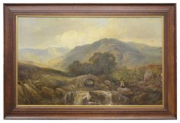 Joseph Adam (Scottish, 1819-1886) 'Highland landscape with a stone bridge', oil on canvas