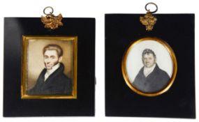 Brit. School, two early 19th c. portrait miniatures of Regency gentlemen